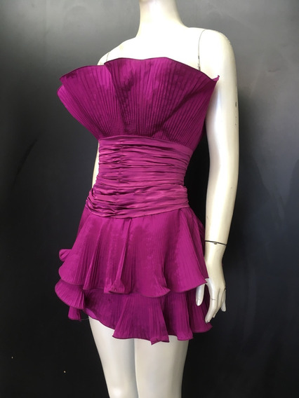Vestido De Festa Curto - Tafetá De Seda Plissado