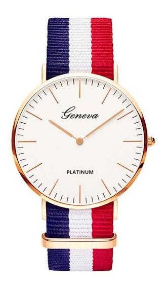 Relógio Feminino Dourado Geneva Rosa Analógico Redondo Luxo