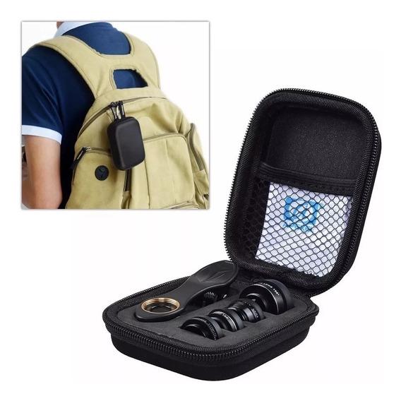 Kit Apexel 5 Lentes P/ Smartphone Cpl Macro Wide Fisheye P40