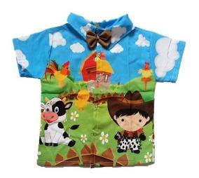 Camisa Infantil Social Temática Fazendinha Menino- Roupa