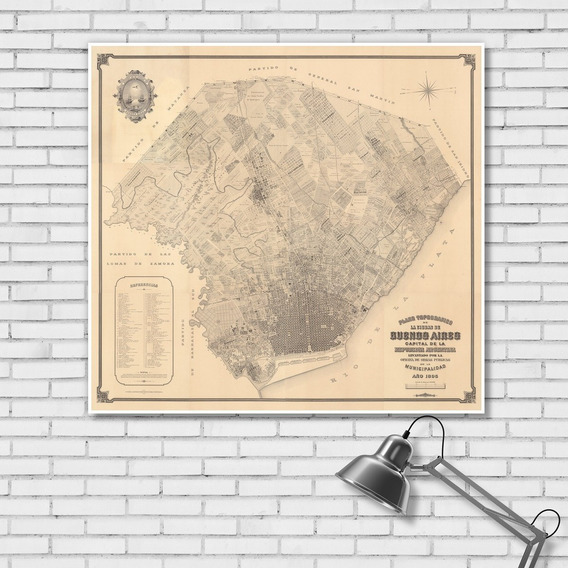 Mapa Ciudad Buenos Aires Año 1895 66cmx61cm