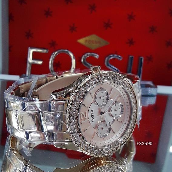 Relógio Feminino Fossil Es3590 Dourado Ouro Rose 18k Strass