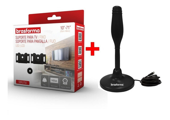 Suporte De Tv Fixo Universal 10 - 71 + Antena Digital - Kit