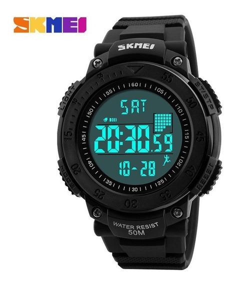 Relógio Pedômetro Masculino Esportivo Skmei Digital Preto