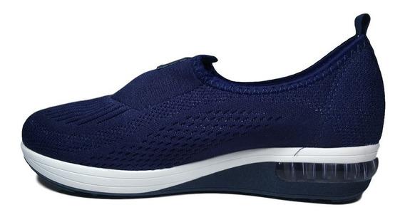 Tênis Feminino Modare Preto - Azul Em Lycra Sem Cadarço 7320