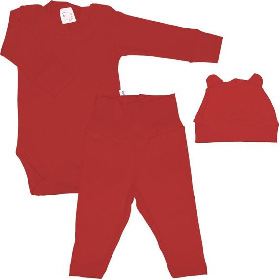 Roupa De Bebê Conjunto Longo Body Calça E Touca Inverno
