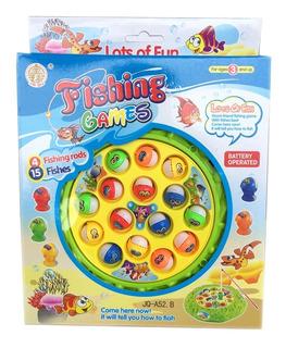 Juego De Pesca A Pila Con 15 Peces 4 Cañas Y Sonido Magic