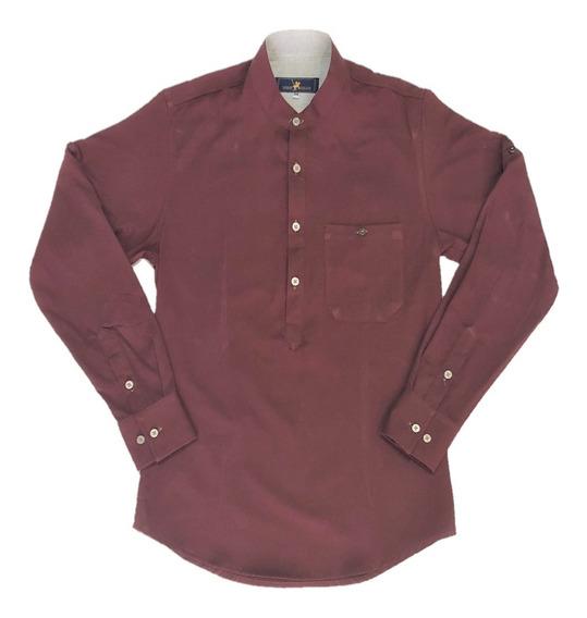 Oferta Camisa Vino Cuello Mao Corte T/playera Marca Polo