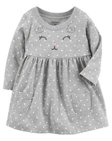 Vestido Cinza Manga Longa Bebê Carters Original 24 Meses