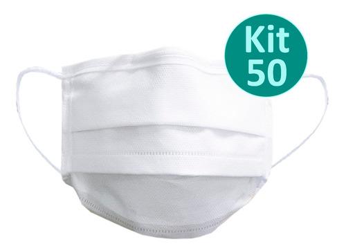 Máscara Descartável Tnt Branco 50 Unidades Envio Imediato