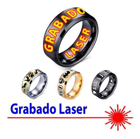 Anillo Para Parejas Hombre Mujer Acero Plata Grabado Laser