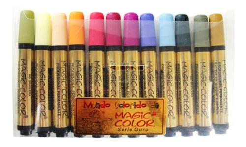 Caneta Magic Color Marcador Permanente C/12 Cores 642-0