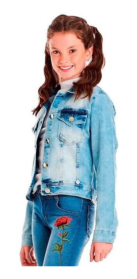 Jaqueta Jeans Feminina Juvenil Bordado Rosa Flor Tam 12 À 18