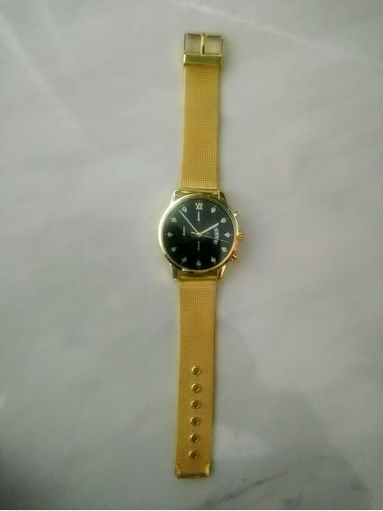Relógio Feminino Masculino Dourado Pulseira Aço Luxo Casual