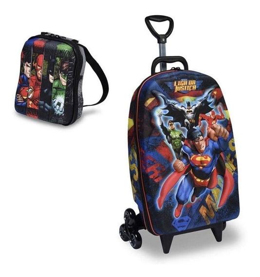 Kit Mochila 3d C/3 Rodas E Lancheira Superman Liga Justiça