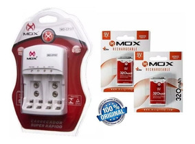 Carregador + 2 Baterias Recarregaveis Mox 320mah 9v Original