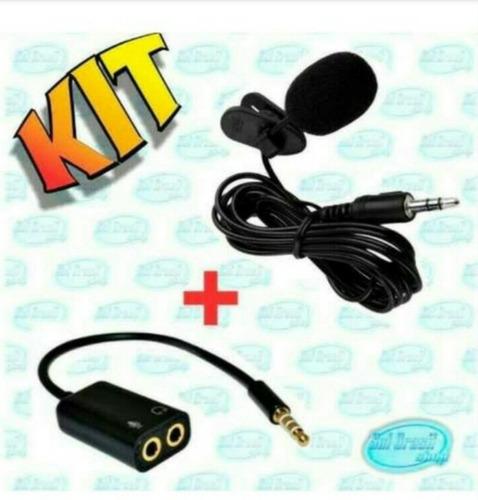 Kit Microfone De Lapela + Extensão Adaptador Smartphone