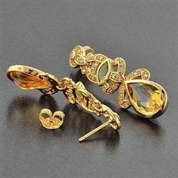 Brincos Em Ouro Amarelo Citrino E Peridoto E Diamantes