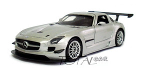 Mercedes Benz Sls Amg Gt3 1:24 Prata Motor Max