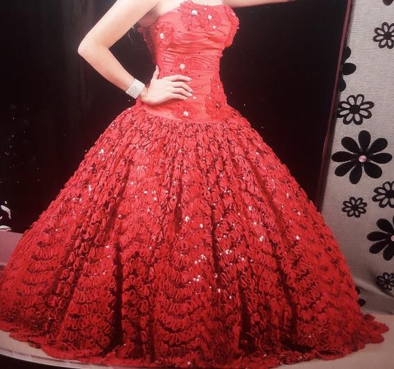 Vestido Rojo De 15 Años Quinceañera