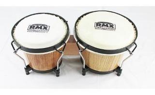 Bongo De 7 X 6 Pulgadas Rmx Madera Natural Percusion Cuero