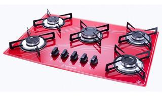 Fogão Cooktop 5q Color Vermelho Safanelli - Frete Grátis
