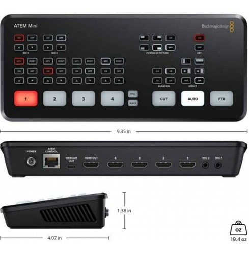 Capturadora Blackmagic Atem Mini Design Switcher Black Magic