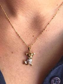 Corrente Ouro 18k Pingente Cachorro Com Diamantes
