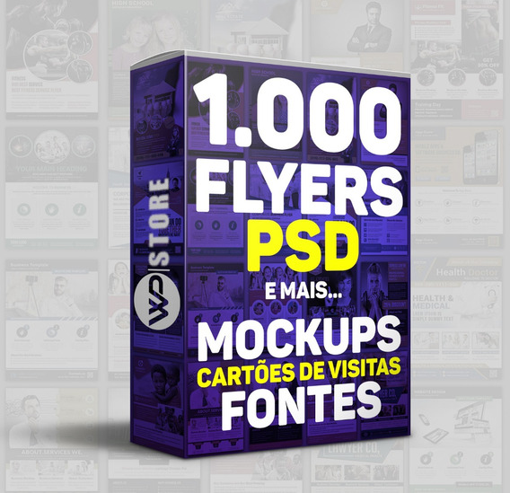Pack 1000 Flyers Diversos-cartões De Visita- Mockups- Fontes