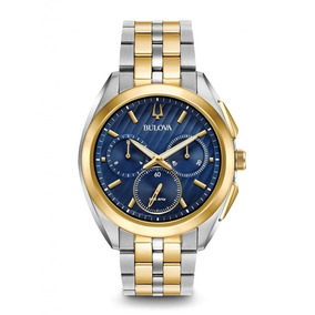 Relógio Bulova Curv 98a159 Misto Dourado Azul Lançamento