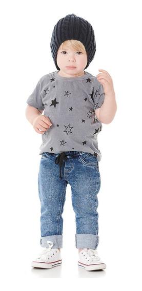 Calça Jeans Moletom Infantil Menino - Tam.1-2-3