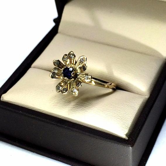 Anillo De Oro Con 12 Diamantes Y Zafiro Naturales Para Dama
