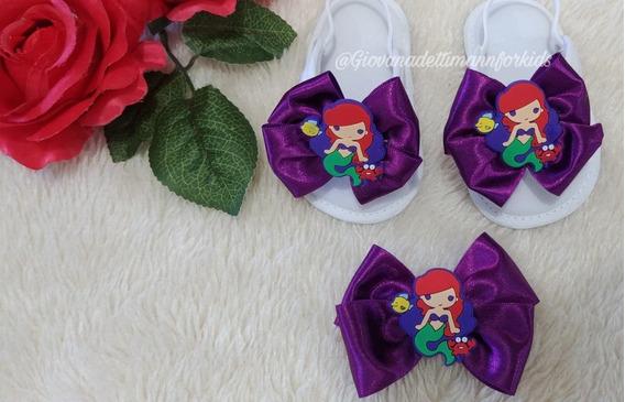 Chinelo Personalizado Para Festa - Princesa Disney Ariel