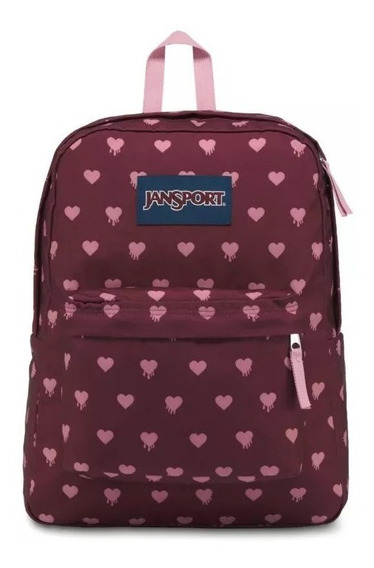 Mochila Jansport Superbreak Russet Red Bleeding Hearts Full
