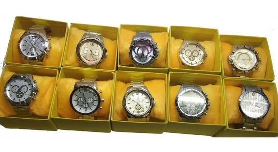 Kit Com 10 Relógios Masculino Luxo + Caixa Atacado E Revenda