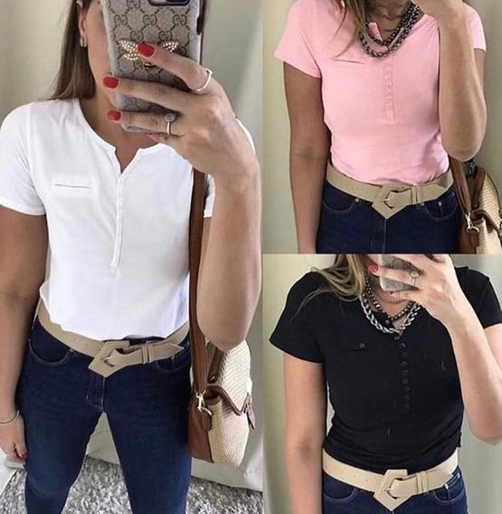 Kit5 Blusa Femin T-shirt Algodão Botãos Gola V Liso Atacado