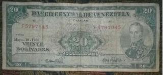 Billete De 20 Bolivares 10 Mayo 1966