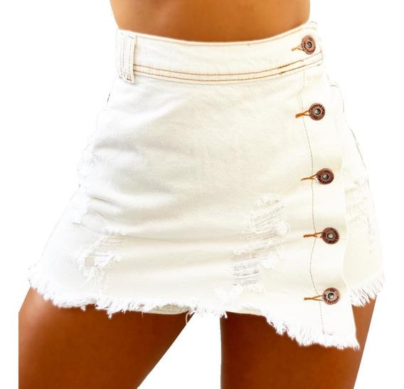 Saia Short Jeans Feminino Botão Cós Alto Barra Desfiada