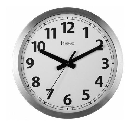 Relógio Silencioso De Parede 30 Cm Aluminio Herweg 6711s