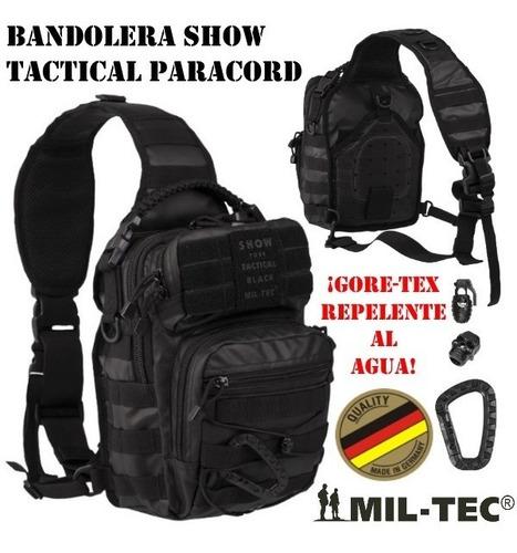 Imagen 1 de 3 de Mochila Bandolera Alemana Mil-tec Tactical Black Paracord