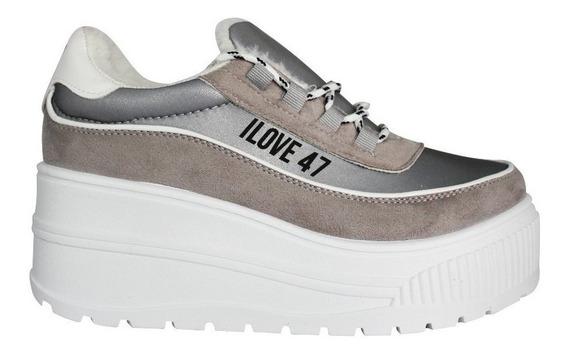 Zapatillas Mujer 47 Street Glow Blancas Negras Cordones