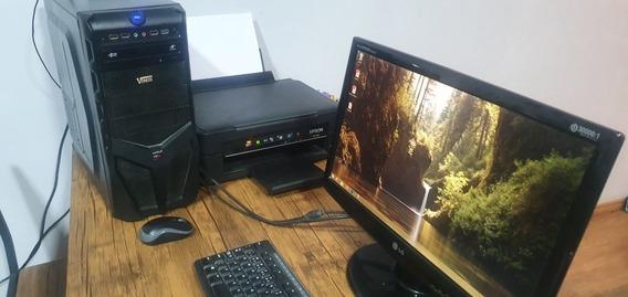 Desktop Computador (pc) Com Monitor E Impressora