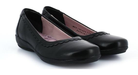Zapato Escolar Flexi Piel Flat Antiderrapante Negro C31