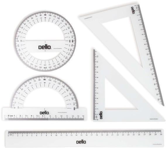 4 Conjunto P/desenho 1 E 2 Grau C/5 Pecas Flexivel Blister