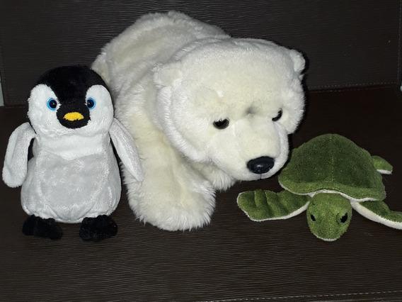 Lote De Pelúcias Urso Polar Tartaruga E Pingüim Usados