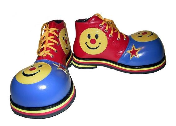 Zapatos De Payaso Profesional Carita Feliz En Azul - Rojo