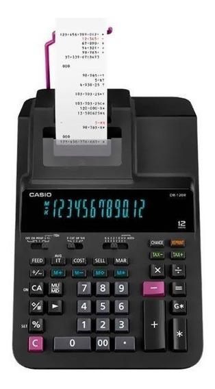 Calculadora Com Impressora Casio Dr-120r-bk Com Função De Re