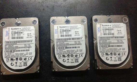 3 Hds Sata Servidor Ibm System X 300gb 10k Rpm Com Defeito