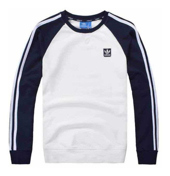 Sudadera adidas Hoodies Blanca Mangas Azules