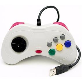 Controle Sega Saturn Usb Pc Mac Joystick Manete Branco Novo